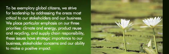 To be exemplary global citizens, we strive for leadership by addressing the areas most critical to our stakeholders and our business. We place particular emphasis on our three priorities: climate and energy, product reuse and recycling, and supply chain responsibility, these issues have strategic importance to our business, stakeholder concerns and our ability to make a positive impact.